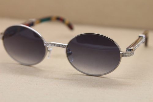 mens sunglasses brand designer Decor peacock wood frame 7550178 Round Metal diamond Sunglasses