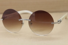 Cartier T3524012 diamond Rimless Original White Buffalo Horn in Sunglasses Gold Brown or Silver Brown Lens Size:57