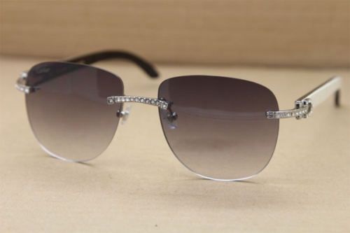 Cartier Rimless Samll Diamond Sunglasses T8300680 Original Black Mix White Buffalo Horn Sunglasses in Gold Brown Lens