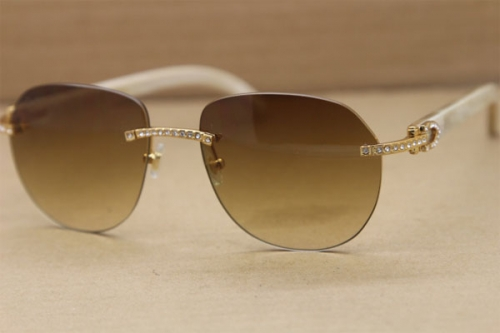 Cartier Rimless  Samll Diamond Sunglasses T8300729 Original Sunglasses in Gold Brown Lens
