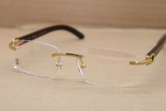Cartier Rimless T8100903 Black Buffalo Horn Original Optical in Gold