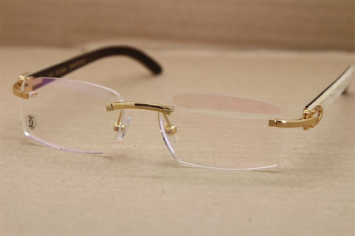 Cartier Rimless T8100903 White Inside Black Buffalo Horn Original Optical in Gold