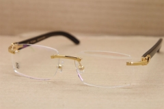 Cartier Rimless T8100907 Genuine Black Buffalo Horn Optical in Gold