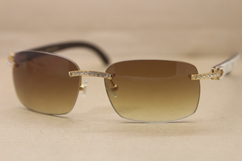 Cartier Rimless Smaller Big Stones T8200497 Black Mix WHite Buffalo Horn Sunglasses in Silver Brown Lens
