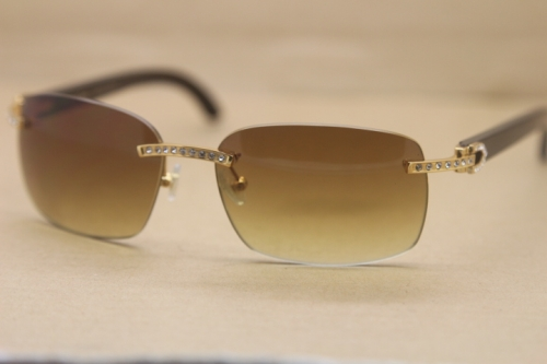 Cartier Rimless Smaller Big Stones T8200497 Black Buffalo Horn Sunglasses in Silver Brown Lens