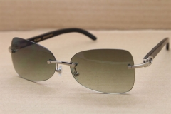 Hot Rimless T8100864 Black Buffalo Genuine horn Sunglasses Brand designer Buffalo Horn Glasses
