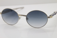 Cartier 7550178 Sunglasses Vintage Sun Glasses Original Stainless Steel Blue Smaller/Big Stones Sunglasses in Silver Gray Lens