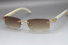 Cartier CT White Genuine Natural Rimless Sunglasses Gold Brown Lens Size:54