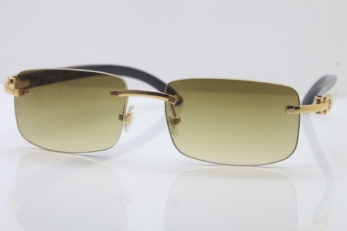 Wholesale High-end brand Cartier Limited edition White Mix Black Buffalo horn Rimless 3524012 Sunglasses in Brown Lens Hot