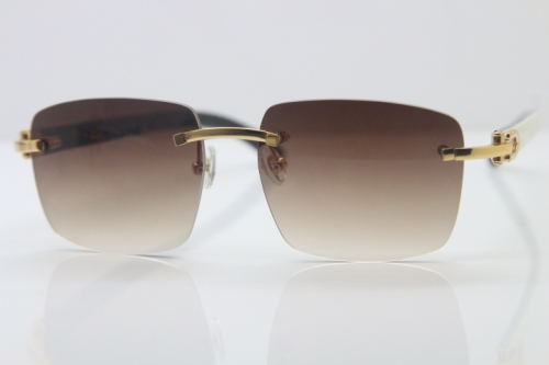 Cartier 8300816 Rimless Original White Inside Black Buffalo Horn Sunglasses in Gold Brown Lens Limited edition Hot