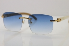 Cartier T8300816 Rimless Original White Genuine Natural Horn Sunglasses in Gold Brown Lens Hot