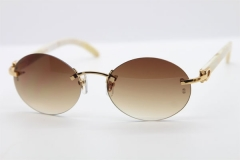 Cartier CT 5124018 18K Gold Rimless White Genuine Natural Sun Glasses Buffalo Horn Sunglasses in Gold Brown Lens Hot