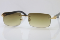 Wholesale High-end brand Cartier 3524012 Rimless SunGlasses Original Black Buffalo Horn Sunglasses in Gold Brown Lens Hot