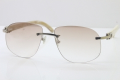 Wholesale High-end brand Cartier T8100928 Rimless Original White Buffalo Horn Sunglasses in 18K Gold Brown Lens Hot