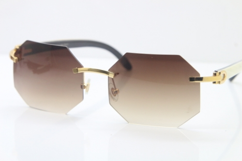 Wholesale High-end brand Carter T8307002 Original Rimless Black White Buffalo Horn Sunglasses in Gold Brown Lens Hot