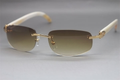 Wholesale High-end brand Cartier Original Rimless White Genuine horn 3524011 Sunglasses In Gold Brown Lens