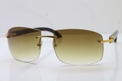 Cartier Hot Larger Hot 4189705 Rimless Black Buffalo Horn Sunglasses in Gold Brown Lens