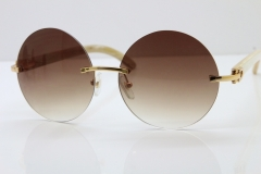 HHot CT3524012 Rimless White Buffalo Horn Sunglasses in Gold Brown Lens Size:57