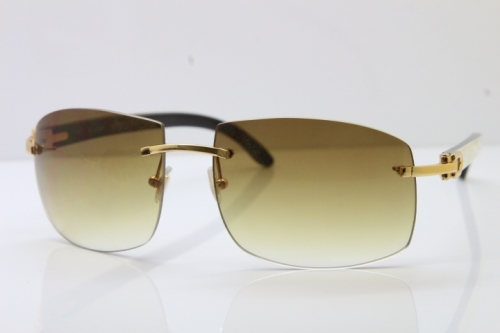 Cartier Hot 4189705 Rimless White Inside Black Buffalo Horn  Sunglasses
