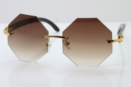 Cartier CT4189706 White Inside Black Buffalo Horn Rimless Sunglasses in Gold Brown Lens(Limited edition)