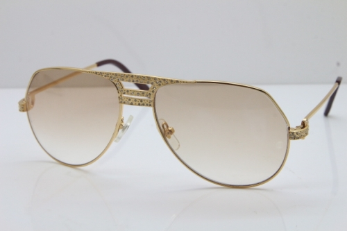 Cartier Diamond 1130036 Original Sunglasses In Gold Brown Lens