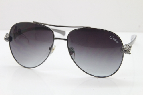 Cartier Leopard T8200666S Diamond Sunglasses In Gun Metal Gray Lens