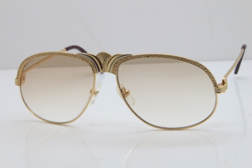 Cartier Crown Smaller Big Stones 1112530 Original Sunglasses In Gold Brown Lens