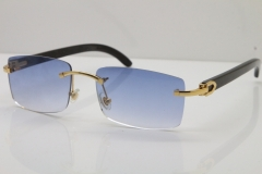 Cartier 8200757 Rimless SunGlasses Original Black Buffalo Horn Sunglasses in Gold Blue Lens