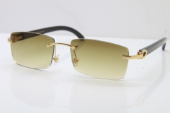 Cartier Rimless 8200757 Original Black Buffalo Horn Sunglasses In Gold Brown Lnes
