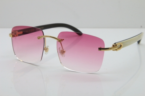 Cartier Rimless Original White Inside Black Buffalo Horn T8300816 Sunglasses in Gold Pink Lens Hot