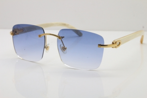 Cartier Rimless Original White Genuine Natural Horn T8300816 Sunglasses in Gold Blue Lens Hot