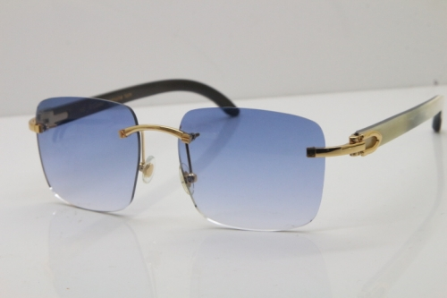 Cartier Rimless Original White Inside Black Buffalo Horn T8300816 Sunglasses in Gold Blue Lens Hot