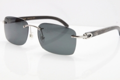 Cartier Rimless Original Black Flower Buffalo Horn 8200759 Sunglasses In Silver Dark Lens