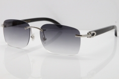 Cartier Rimless Original Black Buffalo Horn 8200759 Sunglasses In Silver Gray Lens