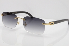 Cartier Rimless Original Black Flower Buffalo Horn 8200759 Sunglasses In Gold Gray Lens
