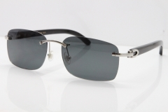 Cartier Rimless Original Black Buffalo Horn 8200759 Sunglasses In Silver Drak Lens