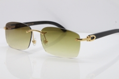 Cartier Rimless Original Black Buffalo Horn 8200759 Sunglasses In Gold Brown Lens