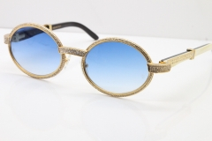 Cartier T7550178 White Inside Black Buffalo Horn Smaller Big Stones Vintage Sunglasses In Gold Blue Lens(Limited edition)