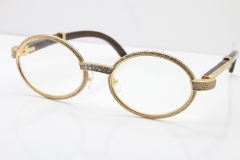 Cartier Eyeglasses T7550178 Wood Smaller Big Stones Vintage Optical In Gold(Limited edition)