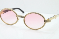 Cartier T7550178 White Inside Black Buffalo Horn Smaller Big Stones Vintage Sunglasses In Gold Pink Lens(Limited edition)