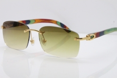 Cartier Rimless 8200759 Original Peacock Wood Sunglasses in Gold Brown Lens
