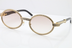 Cartier T7550178 Black Buffalo Horn Smaller Big Stones Vintage Sunglasses In Gold Brown Lens(Limited edition)