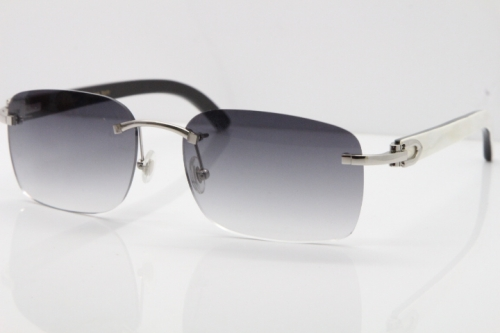 Cartier Rimless 8200759 Original White Inside Black Buffalo Horn Sunglasses in Silver Gray Lens