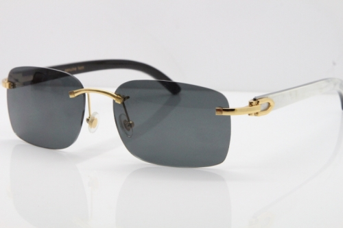 Cartier Rimless 8200759 Original White Inside Black Buffalo Horn Sunglasses in Gold Dark Lens
