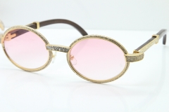 Cartier T7550178 Wood Smaller Big Stones Vintage Sunglasses In Gold Pink Lens(Limited edition)