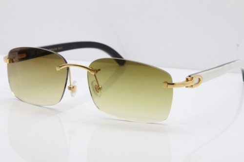 Cartier Rimless 8200759 Original White Inside Black Buffalo Horn Sunglasses in Gold Brown Lens