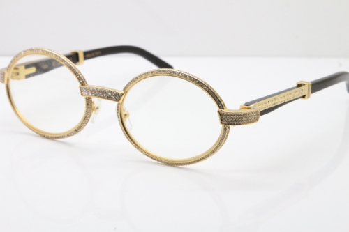Cartier T7550178 Black Buffalo Horn Smaller Big Stones Vintage Eyeglasses In Gold(Limited edition)