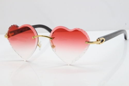 Cartier Rimless 3524012 Heart Original Black Flower Buffalo Horn Sunglasses in Gold Red Lens