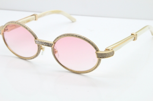 Cartier Smaller Big Stones 7550178 White Genuine Natural Horn Sunglasses Vintage In Gold Pink Lens(Limited edition)