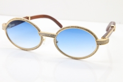 Cartier Vintage 7550178 Wood Smaller Big Stones Sunglasses In Gold Blue Lens(Limited edition)